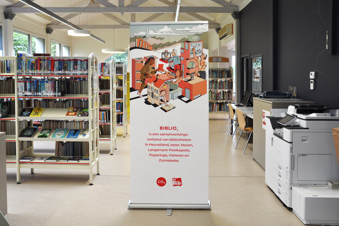 Roll-up banner Biblio7, met illustratie van Xavier Truant